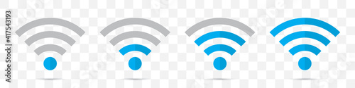 Fotografiet Set of blue wifi icons in a flat design