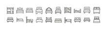 Stroke Vector Bed Line Icons.