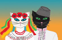 Abstraction. A Pair Of Black Cat And White Cat Are Dressed In National Ukrainian Clothes - Embroidered Shirts, A White Cat Has A Wreath Of Poppies On Its Head, And A Black Cat Has An Astrakhan Hat.