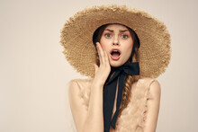 Cheerful Woman In Straw Hat Elegant Style Cosmetics Close-up