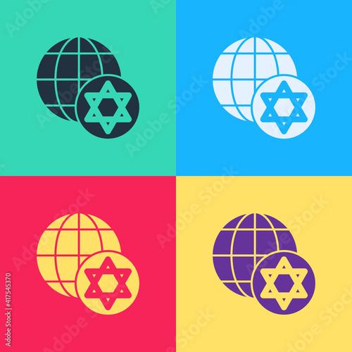 Obraz na plátně Pop art World Globe and Israel icon isolated on color background