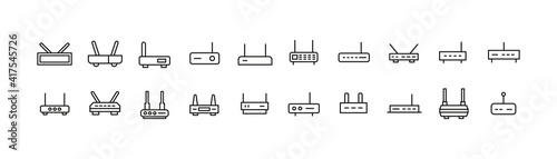 Canvastavla Simple line set of router icons.