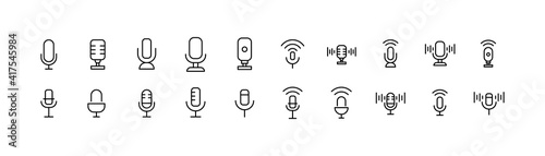 Canvas Print Vector set of microphone thin line icons