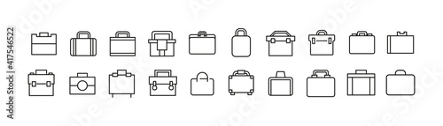 Fotografia Vector set of briefcase thin line icons.