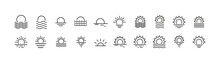 Set Of Simple Sunset Line Icons.