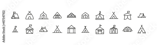 Fotografiet Set of tent line icons