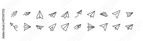 Stroke vector paper plane line icons.
