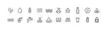 Editable Vector Pack Of Water Line Icons.