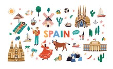 Bundle Of Symbols Of Traditional Spanish Culture And Architecture. Set Of People, Buildings, Plants, Food And Landmarks Of Spain. Colored Flat Vector Illustration Isolated On White Background