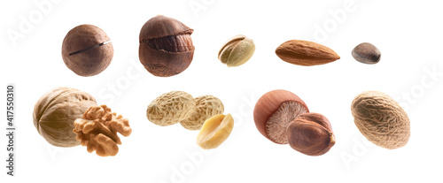 Obraz Large collection of different nuts on a white background - fototapety do salonu