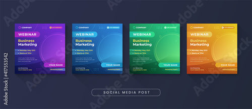 Obraz Business marketing webinar social media post template - fototapety do salonu