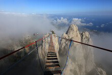 Go Over The Abyss Along The Suspension Bridge To The Rocks Of Mount Ai-Petri. Travel Across Crimea