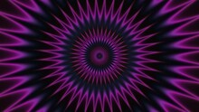 Turning Purple Pink Shinning Neon Spike Discs On Dark. Sphere Energy Field
