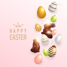 Vector Illustration Of Happy Easter Holiday With Different Eggs, Chocolate Rabbit And Chicken. International Spring Celebration Design With Typography For Greeting Card, Invitation For A Party