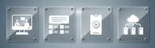 Set Cloud Or Online Library, Online Play Video, Online Quiz, Test, Survey And Online Education. Square Glass Panels. Vector.
