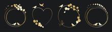 Frames For Wedding Invitation. Set Vector Design Elements, Golden Floral Frames.