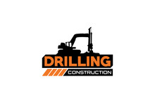 Contractor, Trench Digger And Drilling Rig Logo Design Inspiration Heavy Equipment Logo Vector For Construction Company. Creative Excavator Illustration For Logo Template.