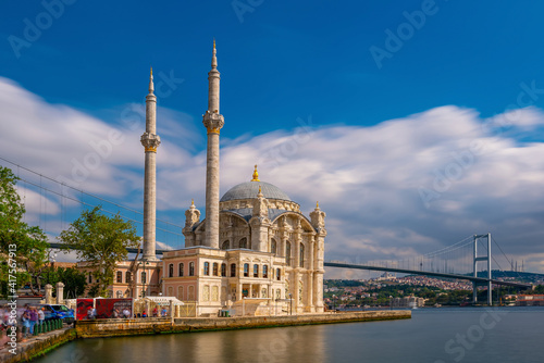 Tela Ortakoy mosque on the shore of Bosphorus in Istanbul Turkey