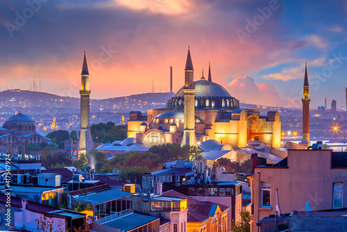 Beautiful view on Hagia Sophia in Istanbul, Turkey from top view Fotobehang