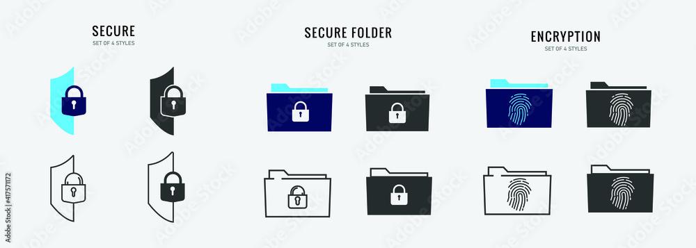 Fototapeta secure folder vector icon digital file storage password protected encryption