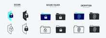 Secure Folder Vector Icon Digital File Storage Password Protected Encryption
