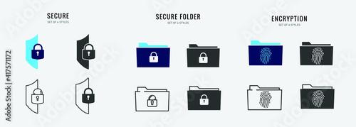 Obraz na plátně secure folder vector icon digital file storage password protected encryption