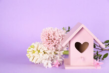 Stylish Bird House And Fresh Hyacinths On Violet Background. Space For Text
