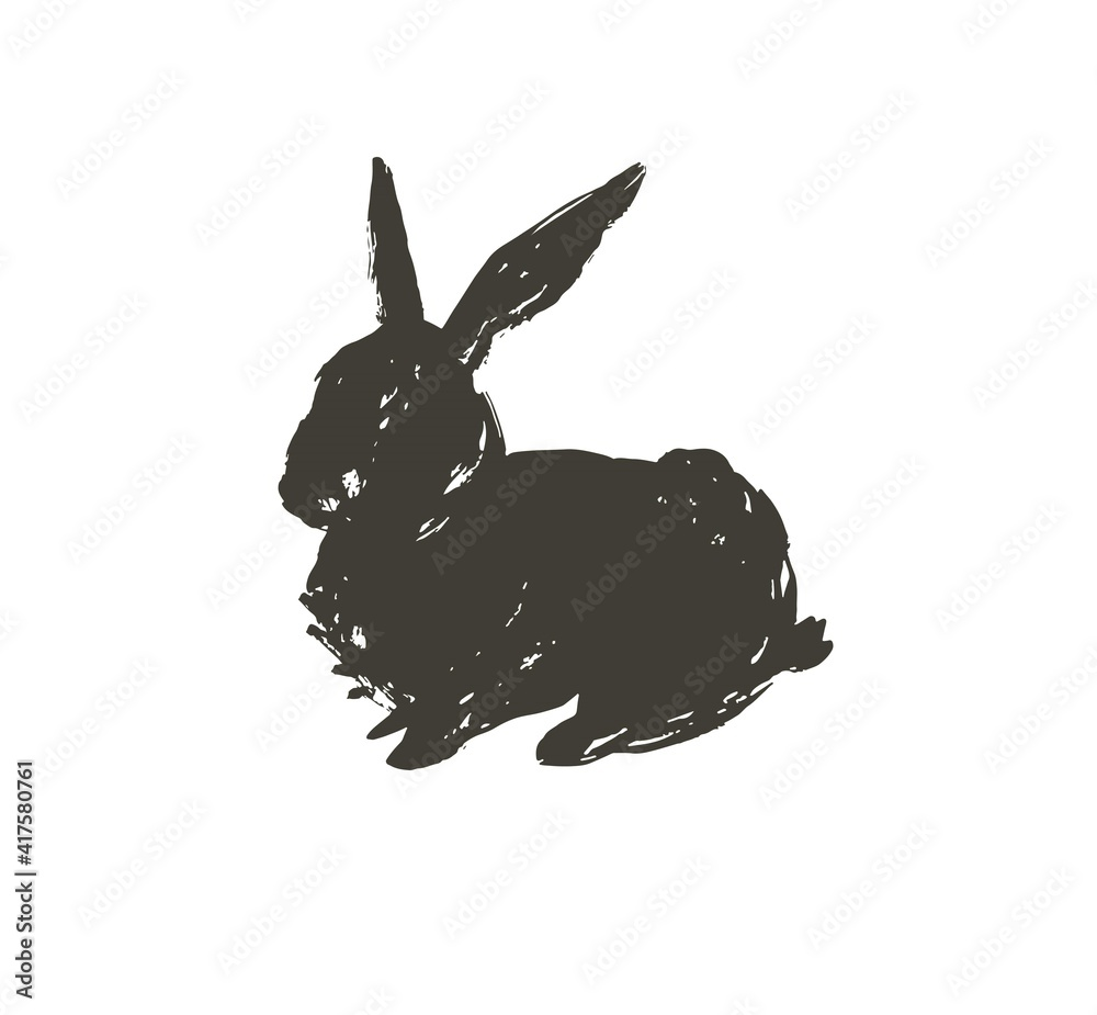 Fototapeta Hand drawn vector abstract sketch graphic scandinavian ink freehand textured black sihouette Happy Easter cute simple bunny illustrations greeting design element isolated on white background