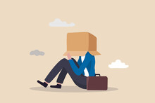 Business Failure, Work Mistake Or Misfortune And Unlucky, Bankruptcy Or Fail Entrepreneur Concept, Depressed Businessman Sitting Covered His Head With Box, Shameful Cannot Face People Or Society.