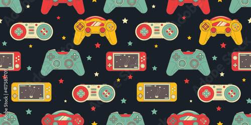 seamless-retro-pattern-with-joysticks-video-game-controller-gaming-cool-print-for-boys-and-girls-print-for-textiles-sportswear