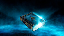 Magic Vintage Fantasy Book On A Dark Background, Landscape, Smoke, Fog, Neon Moonlight In The Dark. 3D Illustration.