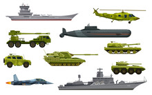 Military Transport, Army Vehicles And War Equipment, Vector Flat Icons. Military Tank, Plane, Submarine And Helicopter, Army Artillery, Combat Weapon And Wartime Ammunition Technics Isolated Set
