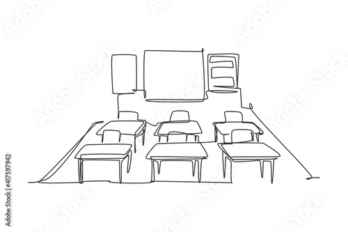 Continuous one line drawing of kindergarten school classroom interior. Back to school hand drawn minimalism concept. Single line draw design for education vector graphic illustration