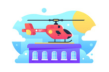 Helicopter Standing On Rooftop