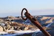 rusty anchor on the beach