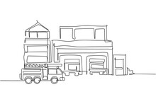 Single Continuous Line Drawing Of Fire Station Building Construction. Firefighter Base Camp Isolated Minimalism Concept. Dynamic One Line Draw Graphic Design Vector Illustration On White Background