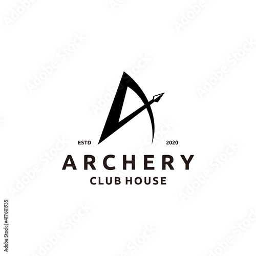 Valokuva Initial Letter A with Arrowhead for Archer Archery Outdoor Apparel Gear Hunter L