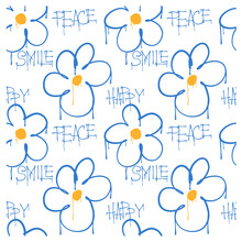 Seamless Pattern Of Graffiti Flowers And And The Words Happy, Peace, Smile. Image For A Poster Or Cover. Vector Illustration. Repeating Texture. Figure For Textiles.