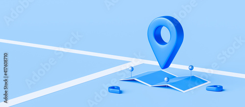 Fototapety, obrazy: Locator mark of map and location pin or navigation icon sign on blue background with search concept. 3D rendering.