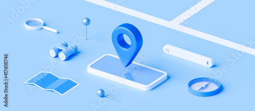 Fototapety, obrazy: Isometric of map and location pin or navigation icon sign on blue background with search concept. 3D rendering.