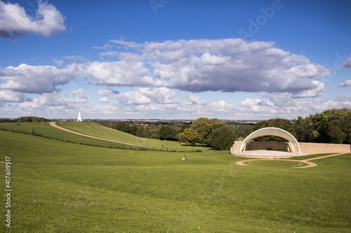 Campbell park, in Milton Keynes, outdoor amphitheatre and light pyramid Fototapete