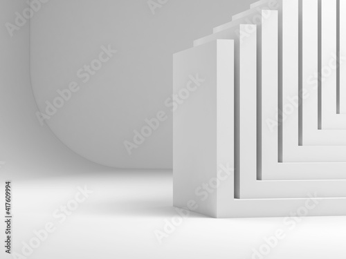 Stacked corners over blank studio wall, 3d © evannovostro