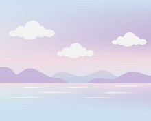 Cute Pink Purple Pastel Landscape And Tiny Clouds