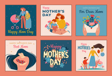 Six Designs For Mothers Day Greeting Cards With Text Showing Mothers With Children Of Assorted Ages, Flowers And Decorative Messages, Set Of Colored Vector Illustrations