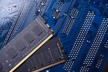 Computer Memory RAM On Motherboard Background . Close Up. System, Main Memory, Random Access Memory, Onboard, Computer Detail. Computer Components . DDR3. DDR4. DDR5