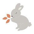 Grey Baby Bunny holds leaves in its paws. Little Rabbit. Cute Easter Animal. Hares Vector Kids Illustration isolated on background. Design for card, print, book, kids story