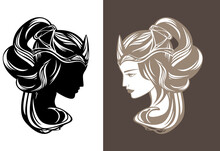 Beautiful Fairy Tale Queen Or Princess With Long Gorgeous Hair Wearing Crown - Fairy Tale Beauty Vector Portrait