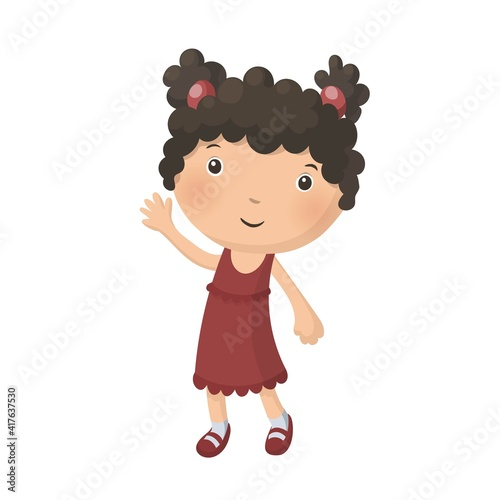 Fotografija Cute pretty young curly girl in red dress isolated on white background