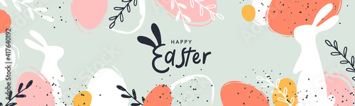 Fototapeta Happy Easter banner. Trendy Easter design with typography, hand painted strokes and dots, eggs and bunny in pastel colors. Modern minimal style. Horizontal poster, greeting card, header for website obraz