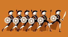 Spartans Army With Spears And Swords